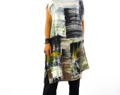 Abstract Hand painted Silk Tunic/Casual Long Silk Top/Silk Blouse/Woman Luxury Silk Tunic/Summer day Long loose tunic/Beach coverup/T0184