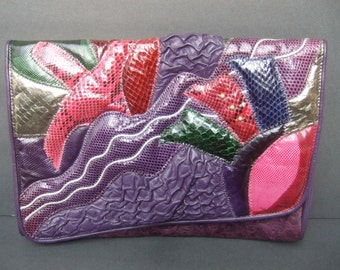 Exotic Pastel Snakeskin Embossed Eggplant Leather Clutch Bag c 1980s