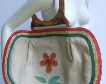 Stylish Large Canvas Suede Applique Flower Wood Handle Handbag c 1970s