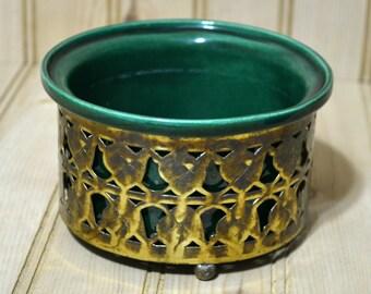 Vintage Wilhite of Calif Planter Green Pottery Brass Filigree
