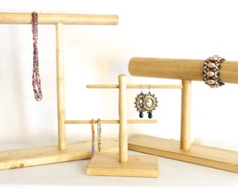 Wood Jewelry Display SET, Wood Necklace Display, Earring Stand, Bracelet Stand, Choose the Stain