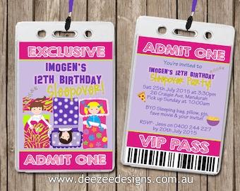Slumber Sleepover Party VIP Lanyard Personalised Birthday Invitations x 10
