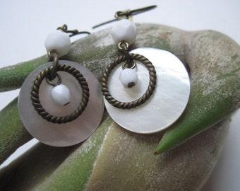 Vintage White Shell And Beaded Earrings