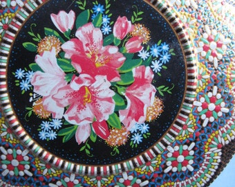 Vintage Round Colorful Floral Tin Made in Holland