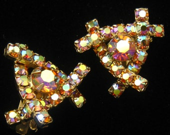 CLEARANCE AB Rhinestone Earrings. Colorful. Vintage. Triangular. Modernist. Contoured Crossover Bars with Larger Focal Stone. Clip Backs