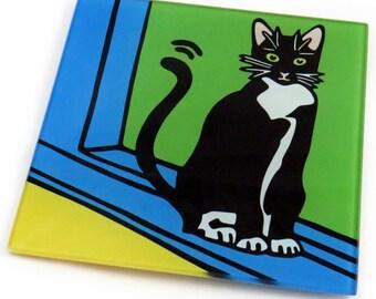 Tuxedo Cat/Black and White Cat/Cat KittenTempered Glass Trivet/Hot Plate