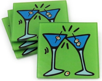 Martinis Tempered Glass Coasters