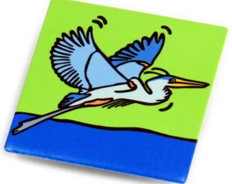 Great Blue Heron Metal Magnet