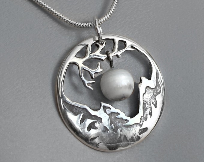 Moonstone Silver Necklace, Silver Pendant, Silver Jewellery.