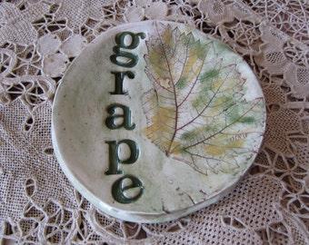 Grape Leaf Handmade Ceramic Bowl Spoon Holder Tea Lights Jewelry Ring Holder
