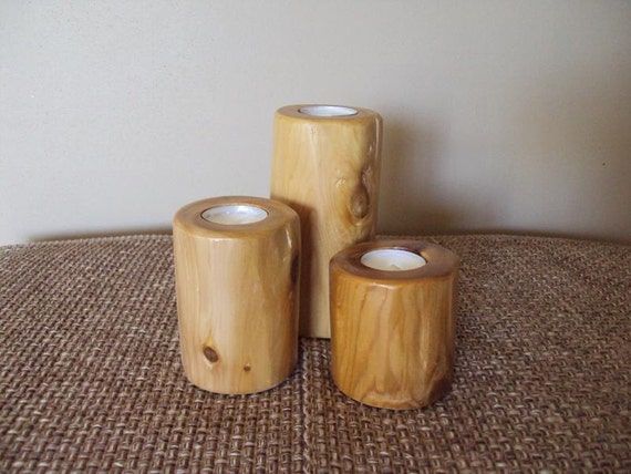 Log tea light candle holder three tier furniture rustic for Log candle holder how to make