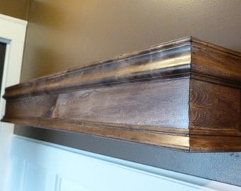 "48""L Wood Mantle, Mantel, Shelf, Fireplace, Modern Floating Wall Shelf, Floating Shelf, Walnut Color Wood"