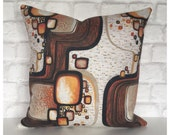 "Accent Pillow Cover Vintage 70s Orange Psychedelic Fabric 16"" x 16"""