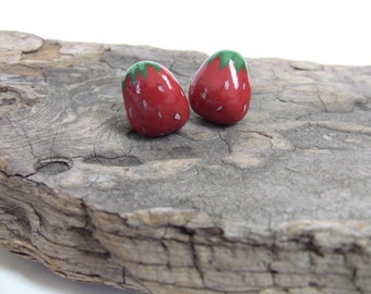 Strawberry - Strawberry PIN - painted stone - Strawberry themed jewelry