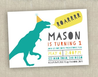 dinosaur birthday invitation - first birthday invitation