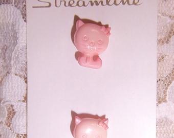 "Streamline 1970s' Pink Kitty Buttons #K 2163  11/16"""