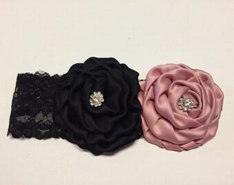Black & Dusty Rose Satin Rolled Rosette Headband