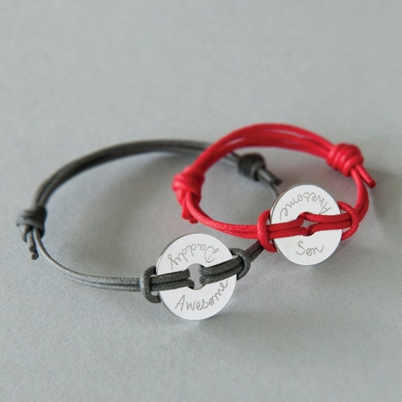 Father & Son Personalized Bracelet duo Washer - Merci Maman Jewellery Gift for father's day, daddy, friendship bracelet, gift from son