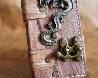 Handmade leather iPhone 5/5S case - leather iPhone 5 cover - vintage leather iPhone cover - leather case for iPhone 5 -Dragon Emblem