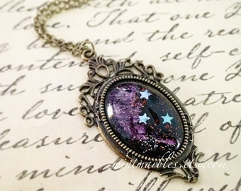 Purple Star Galaxy Necklace. Glass Cabochon. Star Gazer. Night Sky. Black & Purple. Silver Stars. Deco Style Setting. Brass. Vintage Style.