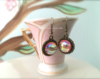 Vintage Style Pink Aurora Borealis Round Dangle Earrings. Brass Setting. Under 25 Gifts for Her. Pink Shiny Rose AB Finish. Round Brass.