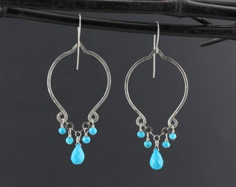 Sterling Silver Turquoise Earrings - Turquoise Dangle Earrings/.925 Wire Formed Artisan Turquoise Drop Earrings