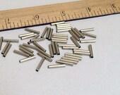 50pc - Metallic Silver Bugle Tube Beads