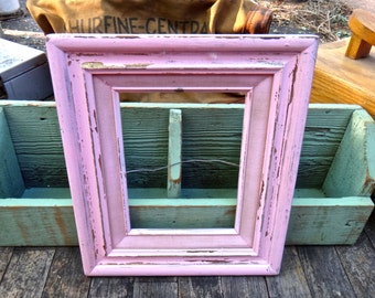 Painted Frame, Pink Frame,  10 x 12 Frame, Wooden Frame, Wedding Decor, Shabby Rustic Frame, Painted Frame, Baby Shower Prop, Photo Prop