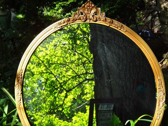 Round Mirror LARGE Gold Mirror Syroco Mirror Ornate Mirror