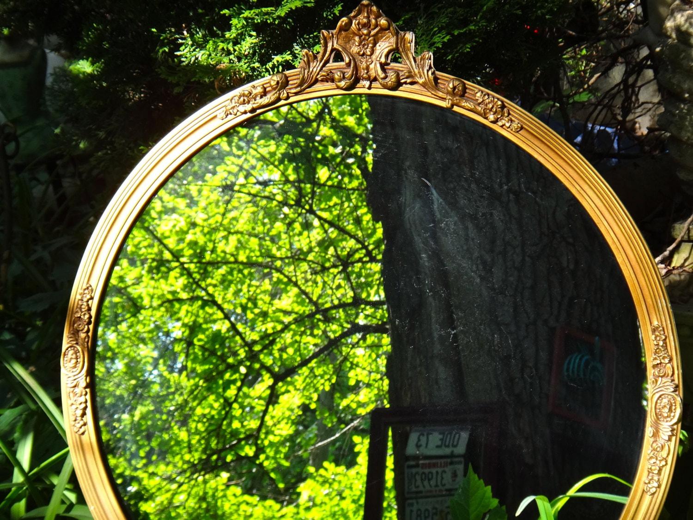 Round mirror large gold mirror syroco mirror ornate mirror for Large round gold mirror