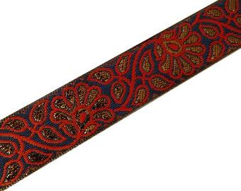 Blue Red Gold Jacquard Jari Border  -  Border / Lace / Jacquard Trim /  Sari Lace by Yard