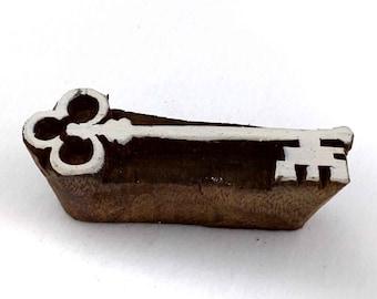 Treasure Key Stamp/Block for Printing - Textile and Paper Printing Stamp - Block Printing Supply