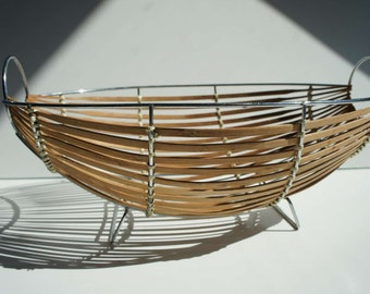 Mid Century Modern Metal Wood Wicker Wire Basket / Bowl