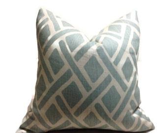 Kravet Pillows, Throw Pillows, Decorative Throw Pillow  Covers. Designer Fabric Ikat Pillow, Aqua  iKat Pillow