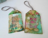 Luggage Tags NEW Batik Collection Hand-Dyed Fabric  ID Cruise Travel Accessory Turquoise Purple Bold Neon Colors Gift Tag Holder Backpack