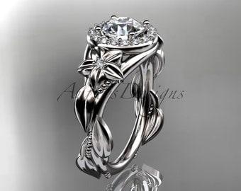 Platinum diamond unique engagement ring,wedding ring ADLR327