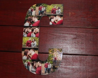 """Christmas Gift, Personalized Collage Wooden Letter, Personalized Gift, Home Decor, Wall Hanging Photo Collage, 13"""" Wooden Letter"""