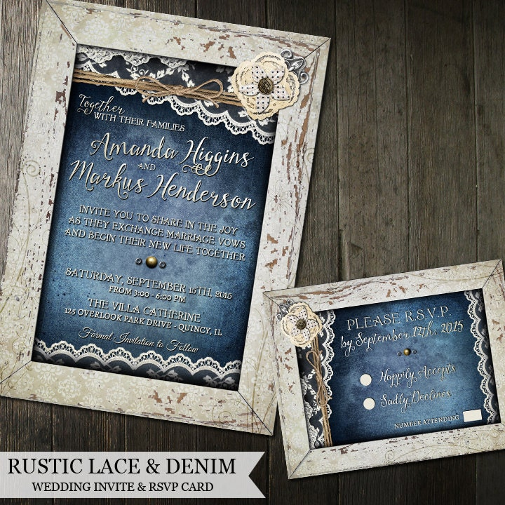 Rustic Wedding Invitation Set Denim And Lace Wedding Invite
