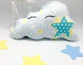 Baby blue Stuffed cloud plush, soft fabric cloud cushion pillow for nursery decor, neutral baby gift nursery cloud pillow, star cloud soft