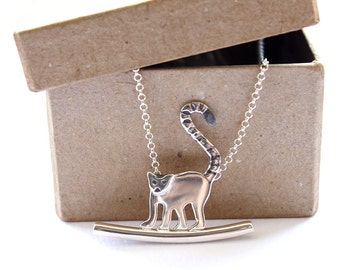 Lemur necklace Monkey necklace Forest friends Jewelry gift ideas for girlfriend Unique wife jewelry gift Forest necklace Nature gift idea