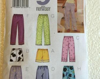 Butterick Misses Womens Lounge Pajama Pants Pattern 3314 UC Uncut FF Size xs s m 6 8 10 12 14