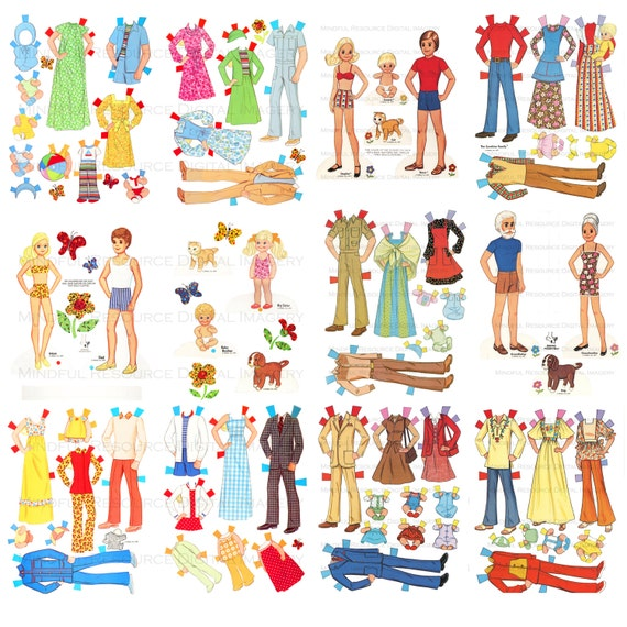 The Sunshine Family Retro Paper Doll 2 SETs Printable Vintage