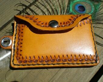 Handmade slim leather wallet / Men's wallet / Bikers wallet/ tooled leather wallet