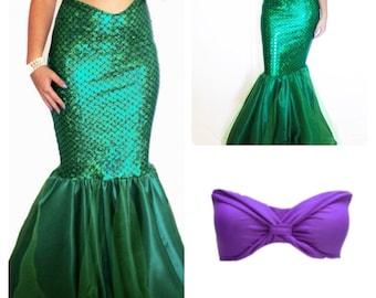 MORENA- adult mermaid costume, mermaid tail and top set, mermaid costume, mermaid tail costume, The Little Mermaid Adult Costume, Mermaid