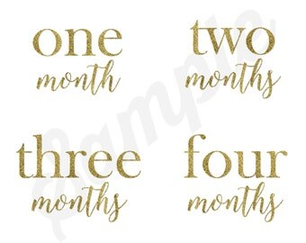 Set of 12 Month 2 Month Milestone You are Golden Collection Monthly Stickers