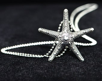 Beach Necklace Starfish, Silver Starfish Necklace, Long Pendant Necklace, Unique Gift for Mother, Sister Necklace, Nautical Jewelry