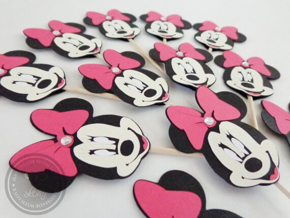 Black & Pink Minnie Mouse Cupcake Toppers (Set of 12)