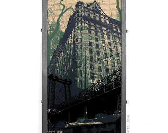 Plaza Hotel Framed Silkscreen Original Art Print in Custom Industrial Frame, New York City, NY