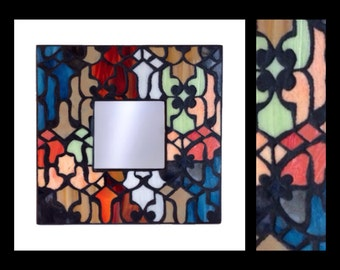"Mediterranean - Stained Glass Mosaic Mirror (10""x10"")"