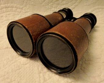 Antique Jumelle Marine Binoculars With Faux Alligator Wrap